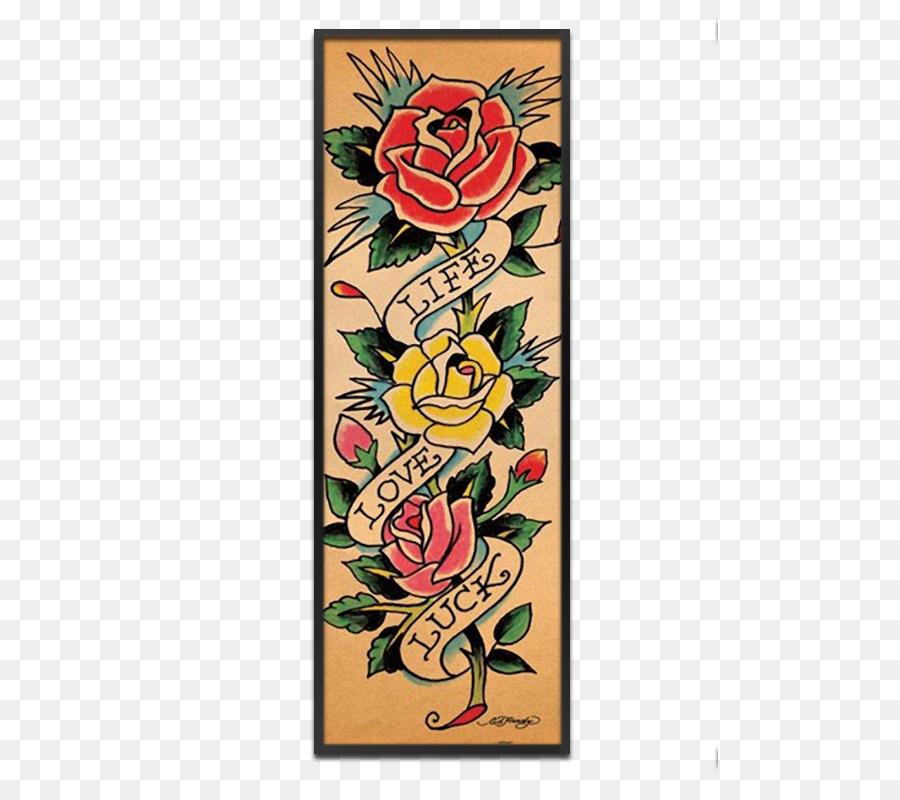 Tattoo Flash Ed Hardy Tattoo artist Floral design - design png ...
