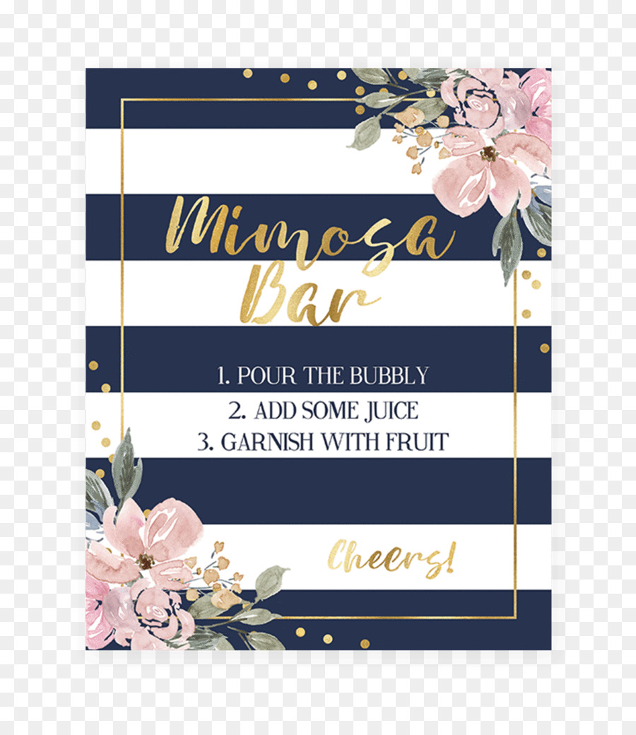 Baby Shower Wedding Invitation Navy Blue Diaper Mimosa Png