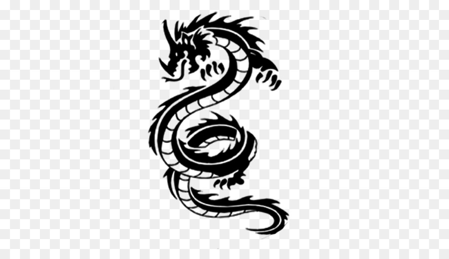 Tattoo Chinese Dragon Black And Gray Mehndi Symbol Tribal Png