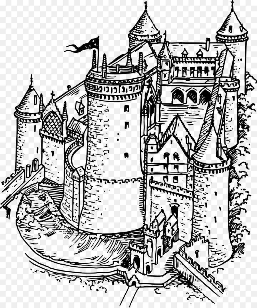 Medioevo Cavaliere Libro Da Colorare Disegno Castello Cavaliere