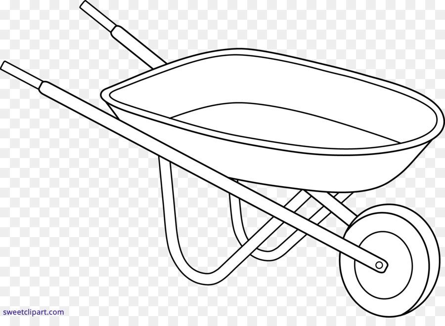 Wheelbarrow Line Art Drawing Garden Clip Art