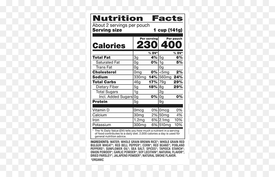 nutrition facts label basmati quinoa brown rice
