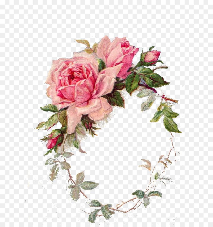 Bokmrke Paper Rose Flower Decoupage Vintage Png Download 728