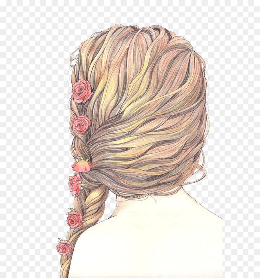 drawing hair braid painting sketch hair png download 640 960