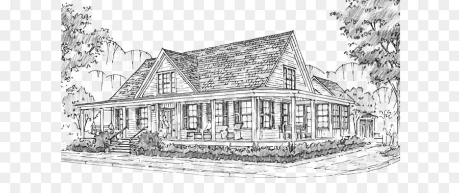 House Plan Farmhouse Drawing Sketch
