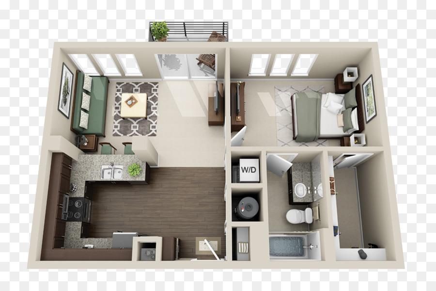Gateway West Luxury Apartments House Plan Studio Apartment   3D Floor Plan