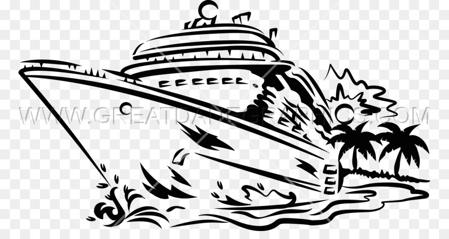 Black And White Cruise Ship Clip Art