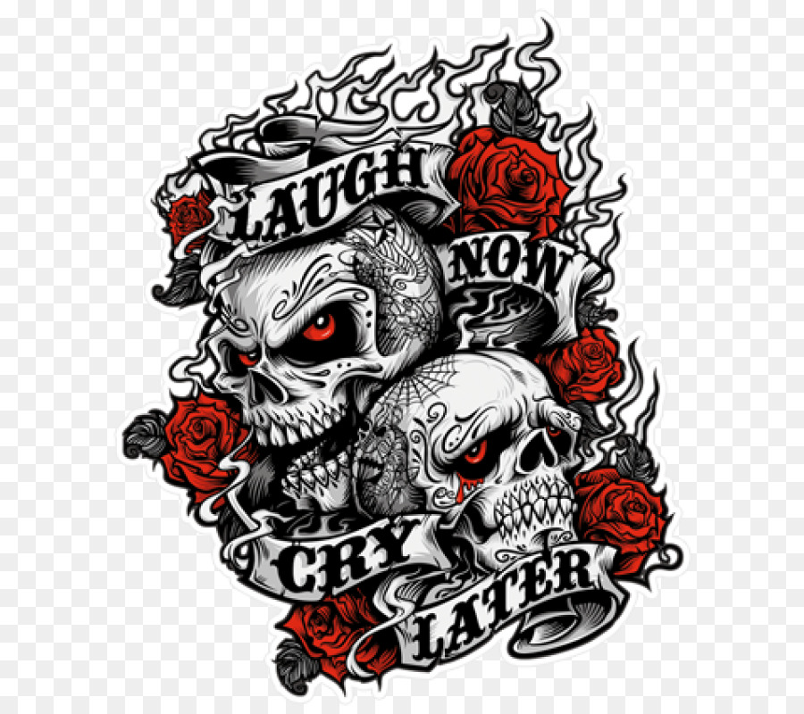 Laugh Now Cry Later Sticker T Shirt Laughter Brutal Tattoo Ritual