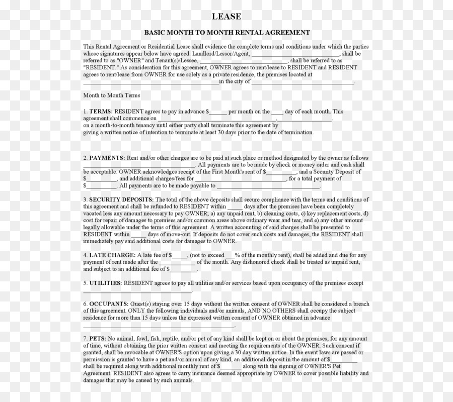 Rental Agreement Lease Contract Landlord Form House Png Download