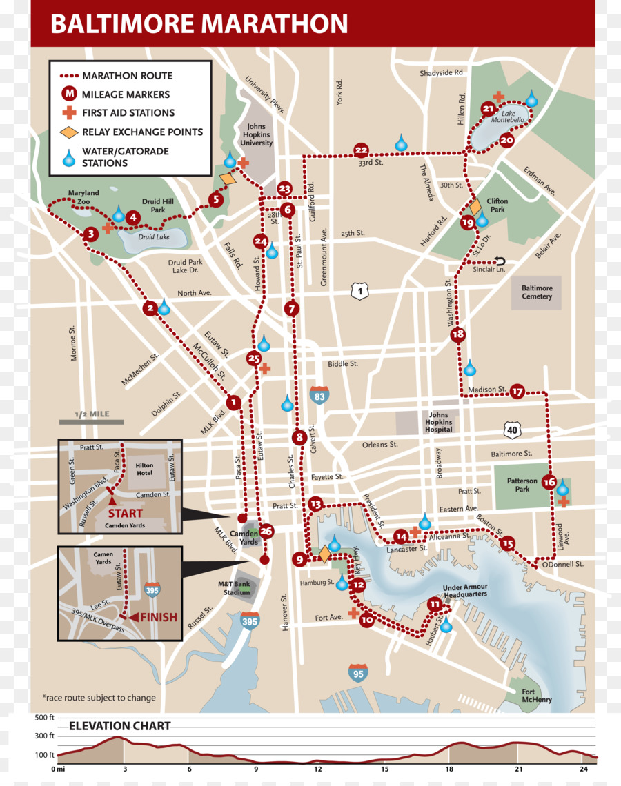 Baltimore Marathon Map Baltimore Marathon Inner Harbor Map Federal Hill   map png