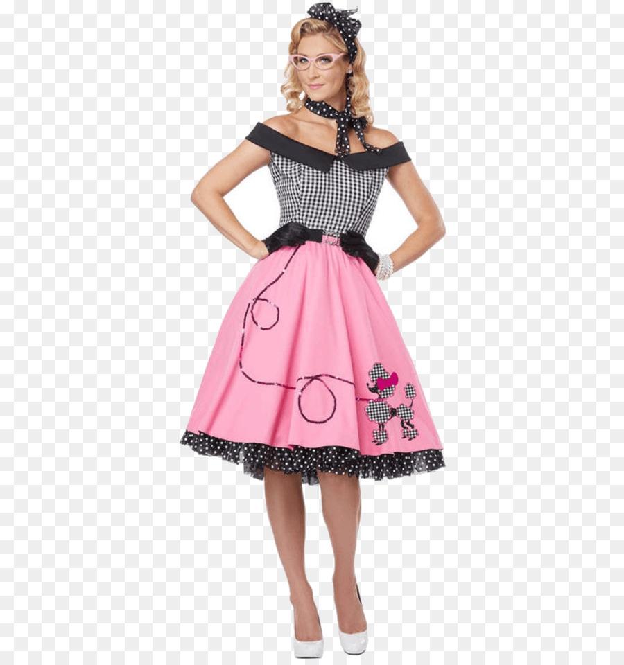 De la década de 1950 Caniche falda de Traje de fiesta Sock hop ...
