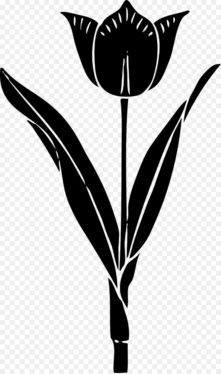 Silhouette Tulip Clip Art Black And White Flower Png Download