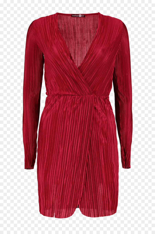 Merah Marun Lengan Pakaian Gaun Leher Gaun Pesta Unduh Pakaian