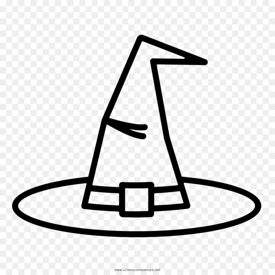 Libro para colorear de Dibujo de bruja Negro y Sombrero blanco ...