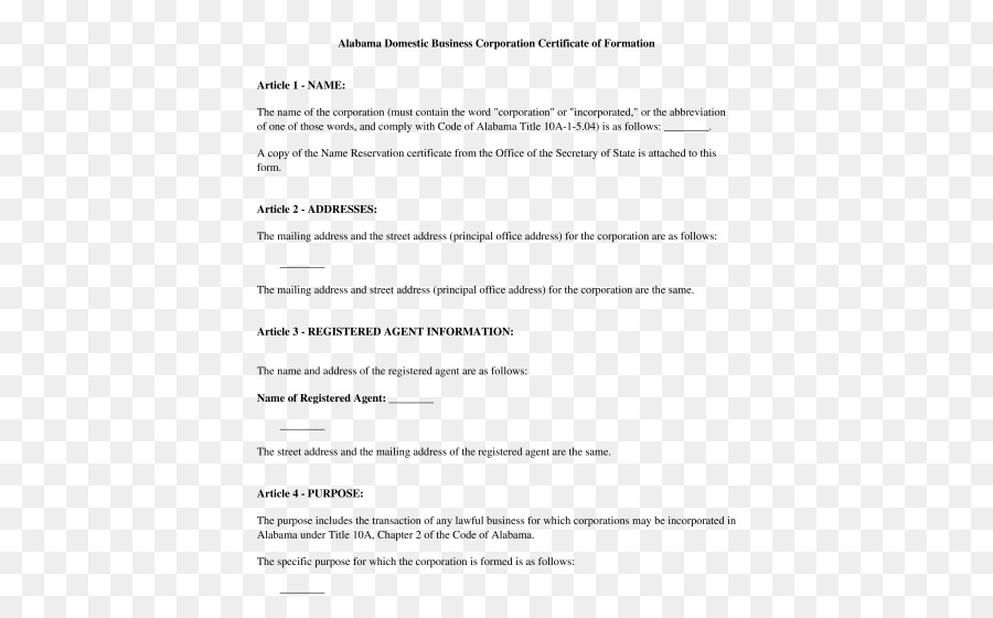 Articles of incorporation Certificate of incorporation Non-stock ...