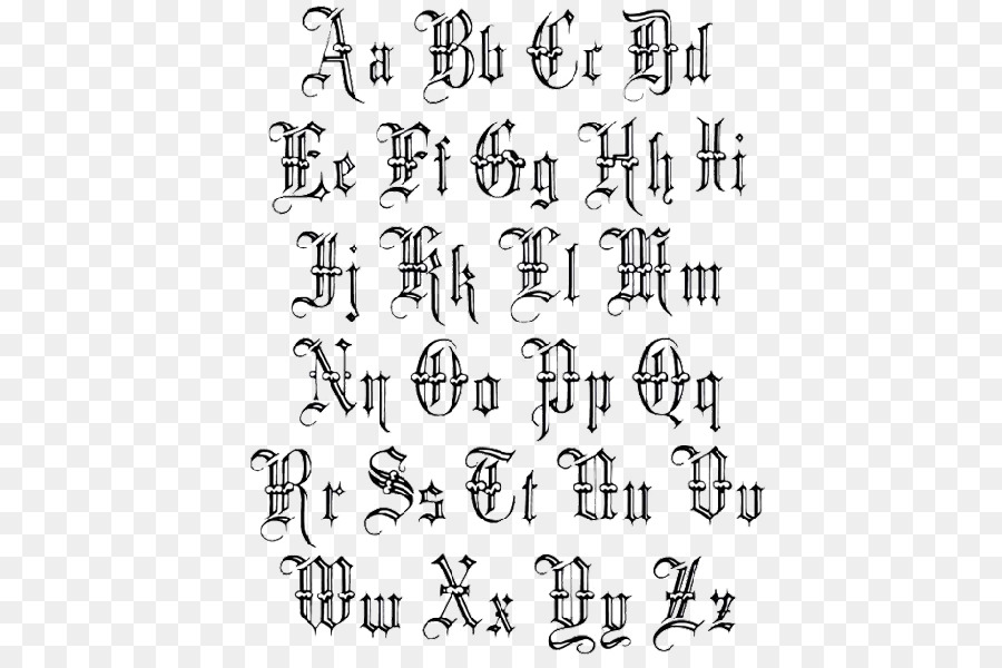 Lettering Old English Latin Alphabet Tattoo