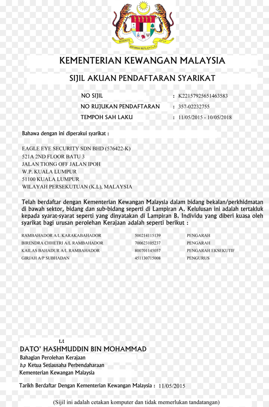 Certification Malaysia Iso 9000 Industry License Security Guards