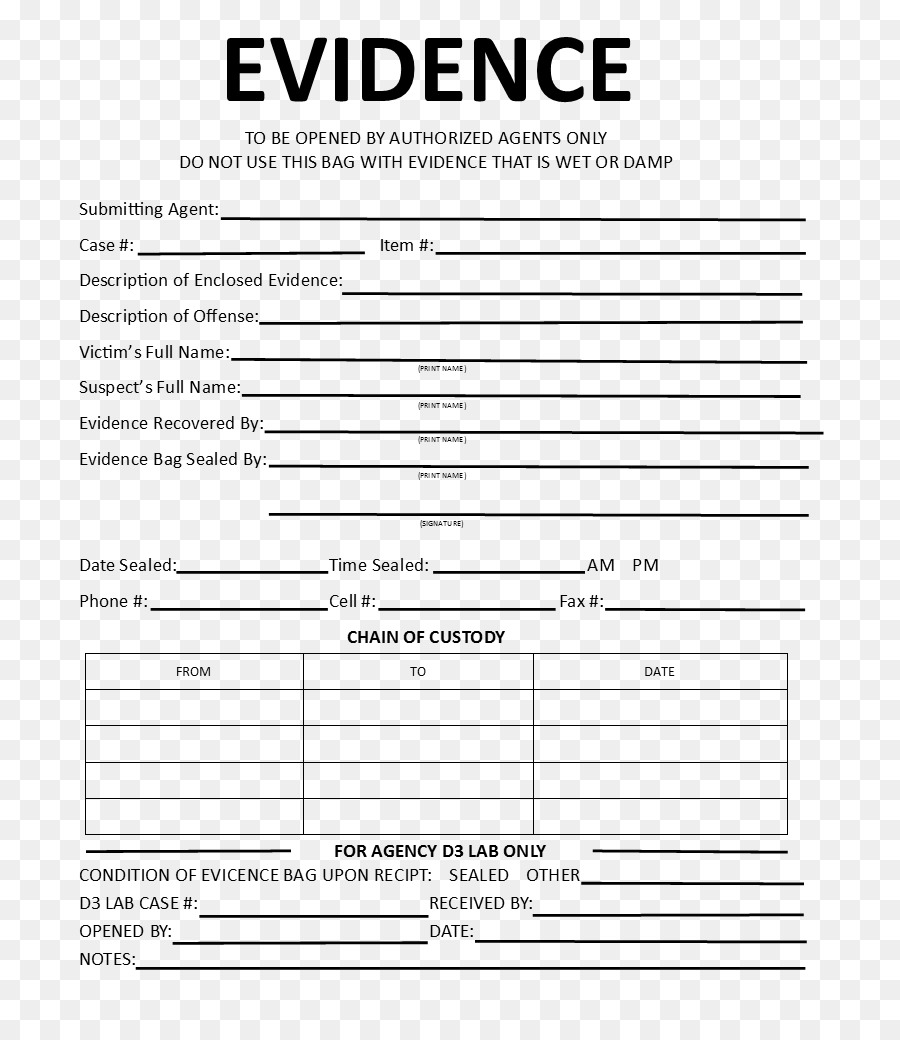 Template Crime Scene Evidence Chain Of Custody Form Evidence Png