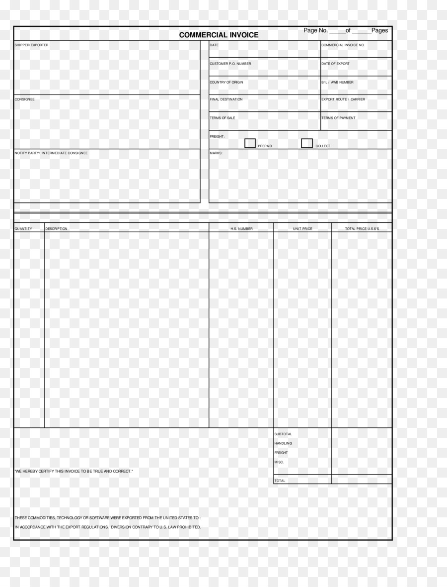 Document Commercial Invoice Template Form Invoice Template Png