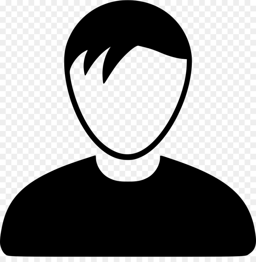 Avatar user profile male black black and white png