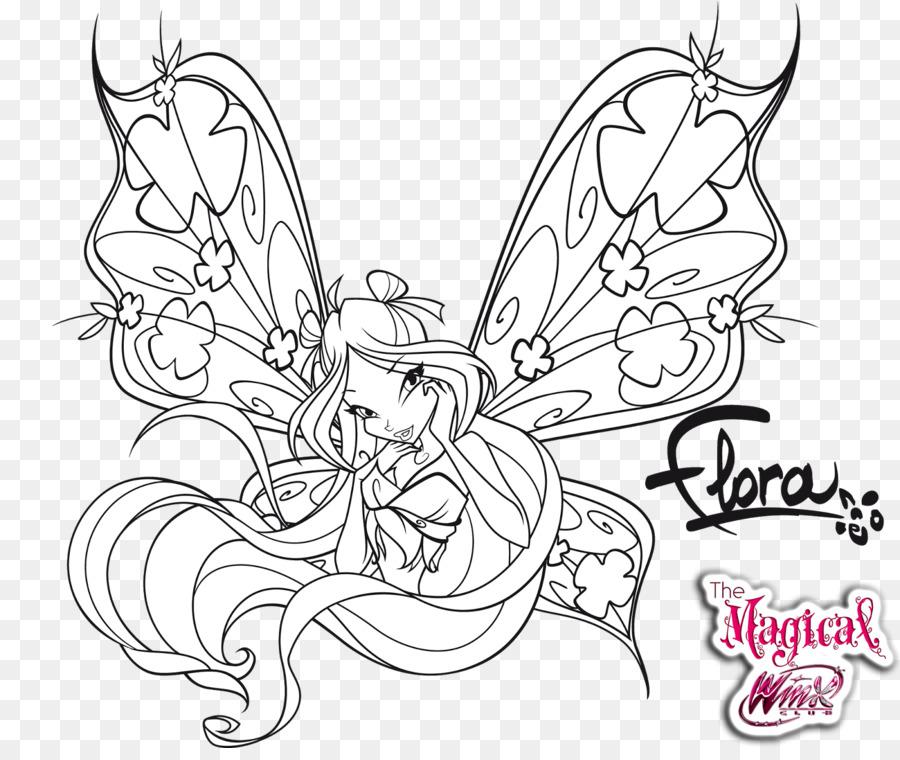 Línea de arte Bloom Dibujo para Colorear libro - Winx Club 3d Magic ...
