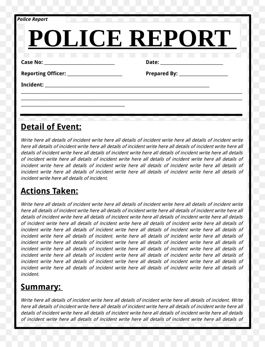Template Police Document Report Form Police Png Download 2550