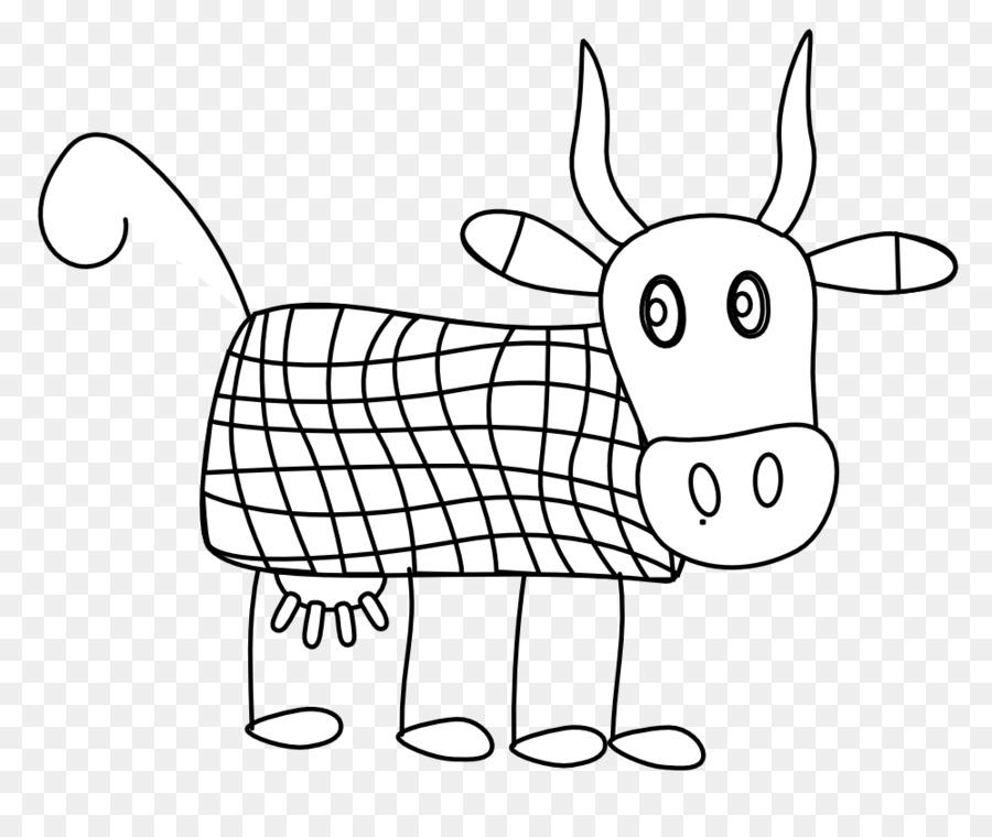 El ganado blanco y Negro de la Línea de arte de dibujos animados ...