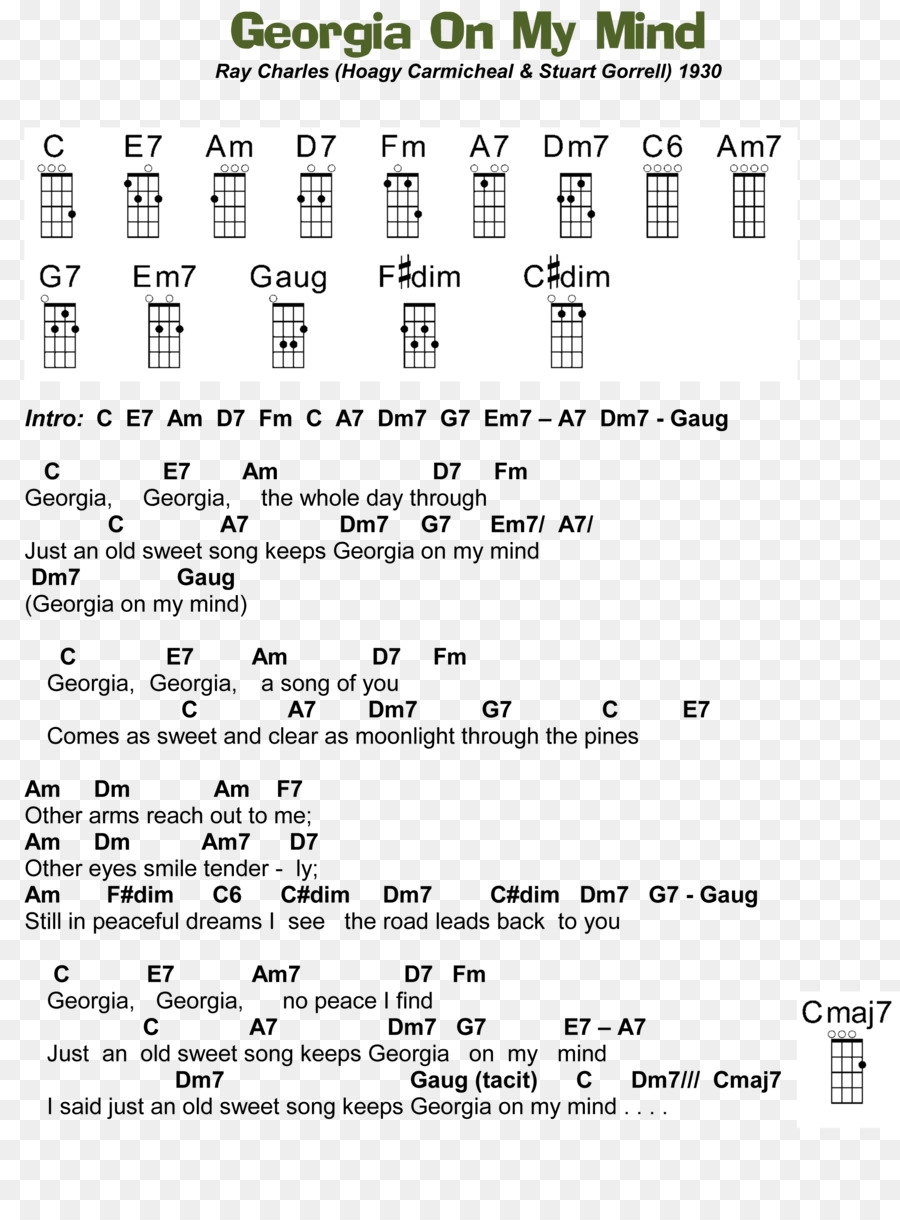 Ukulele Georgia On My Mind Guitar Chord Song Download A7
