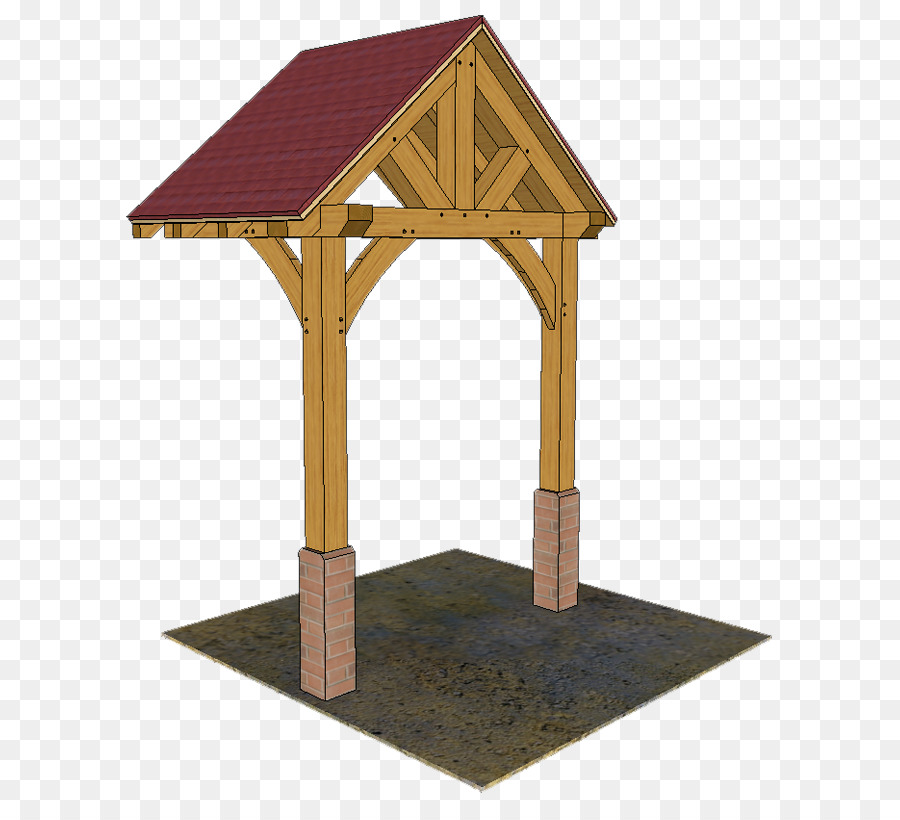 Timber roof truss Timber framing Porch - house png download - 671 ...
