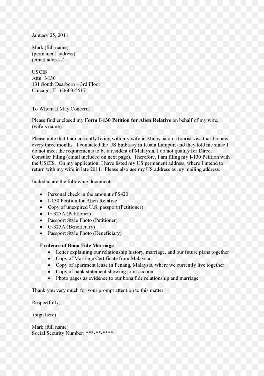 Cover Letter Form I130 Text Line PNG