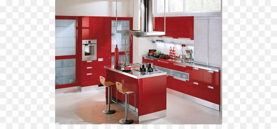 Kitchen Cabinet Cabinetry Red Color Modular Kitchen Png Download