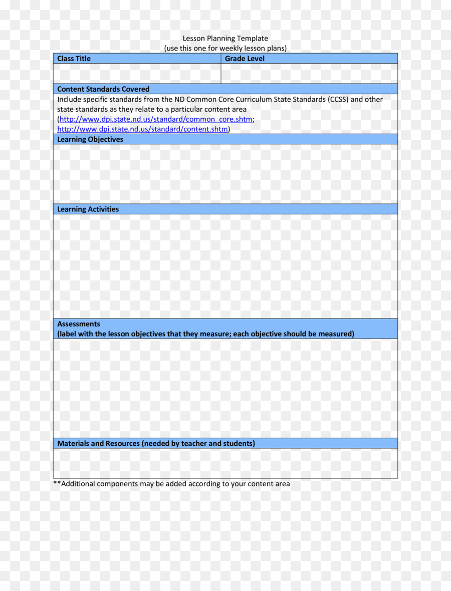 Lesson Plan Template Teacher Common Core State Standards Initiative - One subject lesson plan template