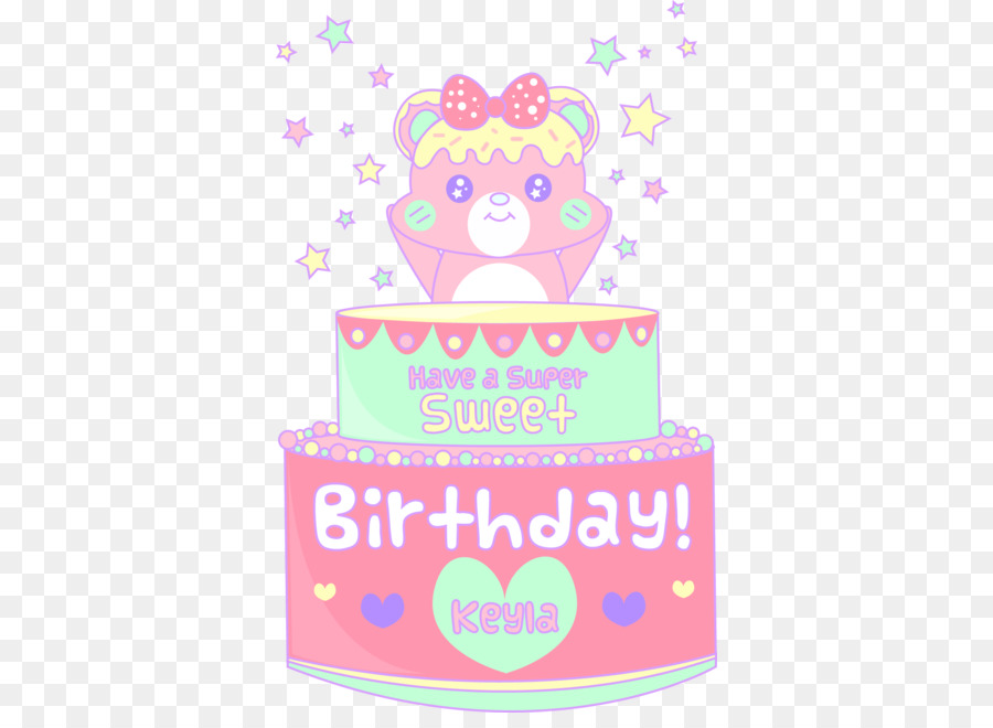 Birthday Cake Happy To You Pink Text PNG