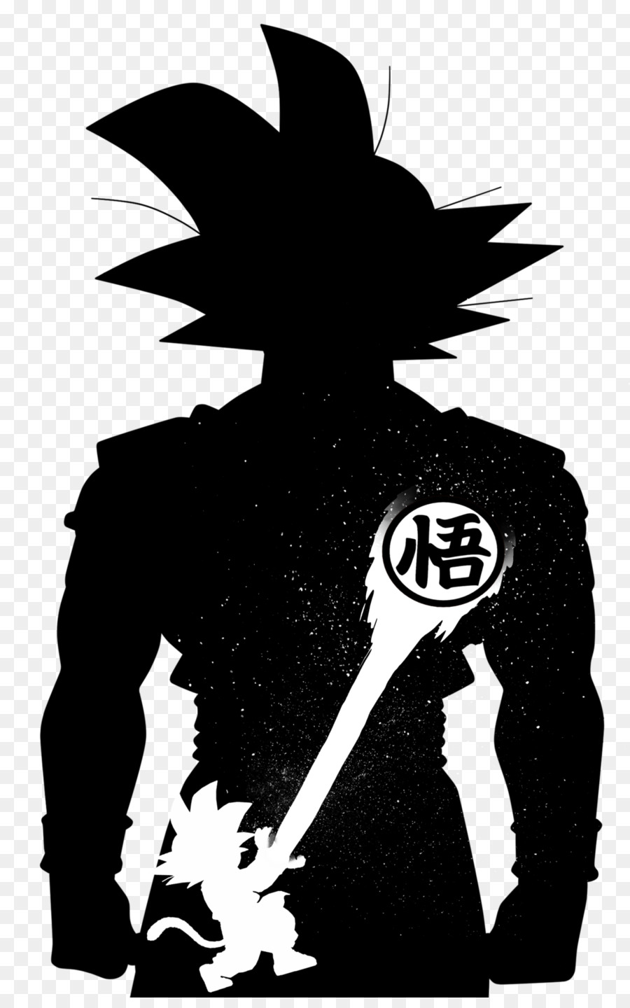 Goku vegeta gohan black and white silhouette png