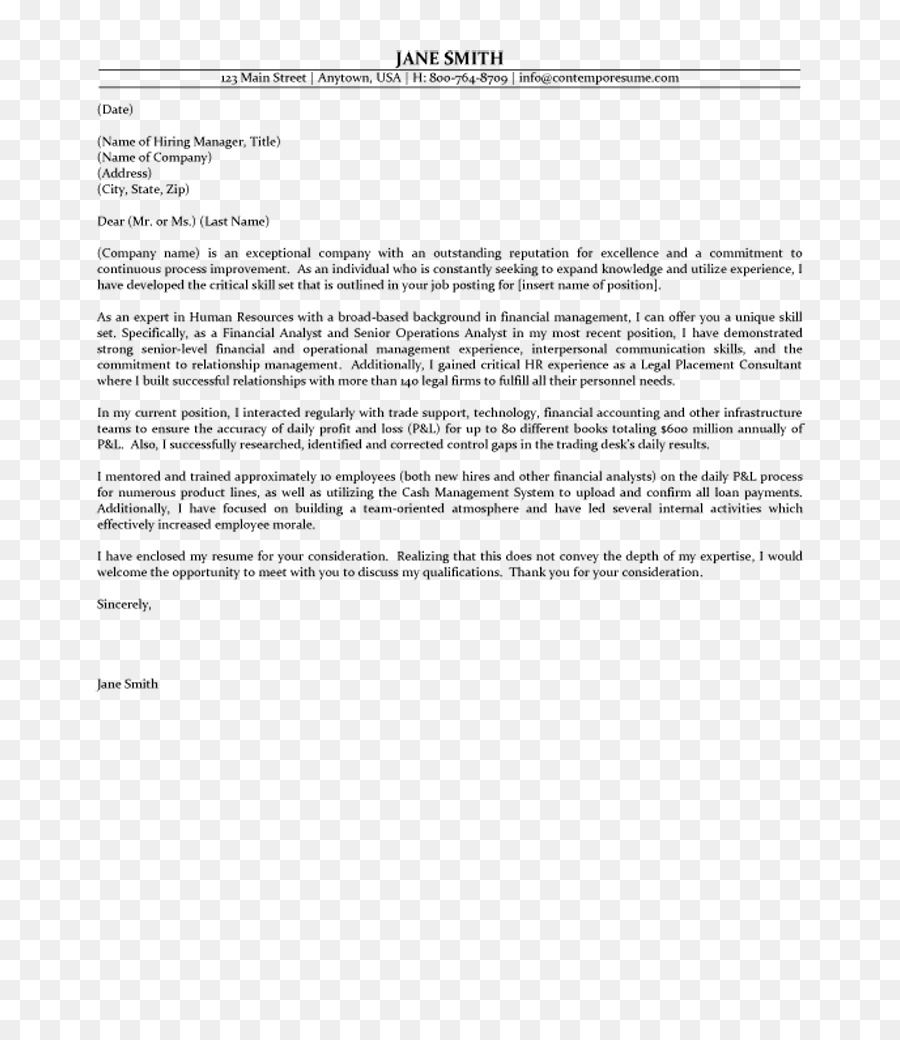 Cover Letter Resume Professional In Human Resources Text Line PNG