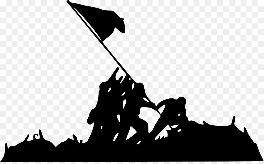 Marine Corps War Memorial Raising the Flag on Iwo Jima Battle of Iwo Jima  Silhouette - Silhouette