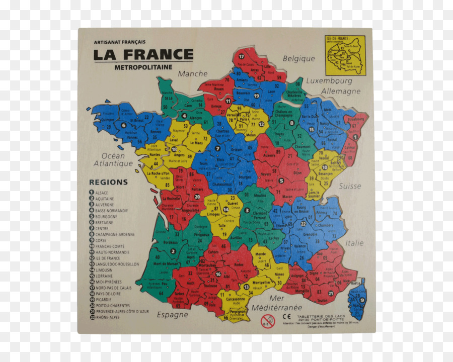 Regionen Frankreich Karte.Puzzle Landkarte Departements Frankreich Regionen Frankreich