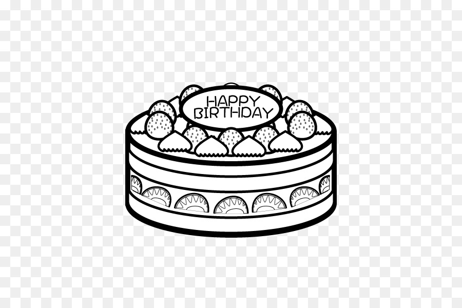Birthday cake Black and white Cupcake Coloring book - Birthday png ...