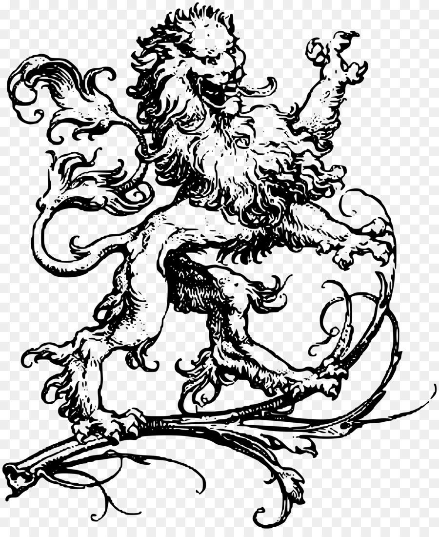 Owl Tattoo Drawing Henna Lion Heraldic Png Download 1984 2400