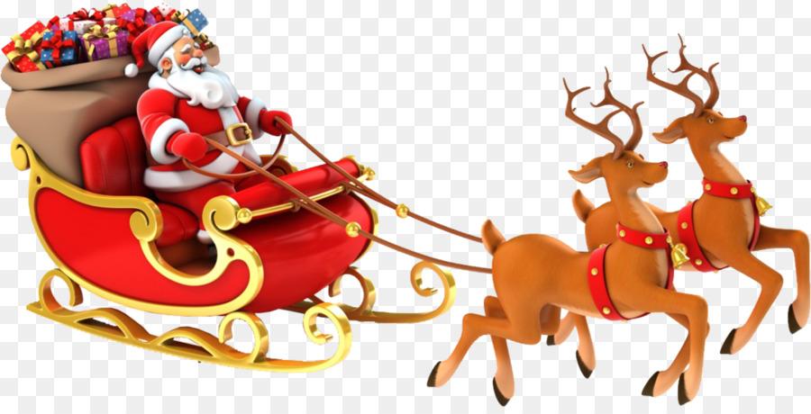 Santa Claus, Reno Rudolph En Trineo Clip Art