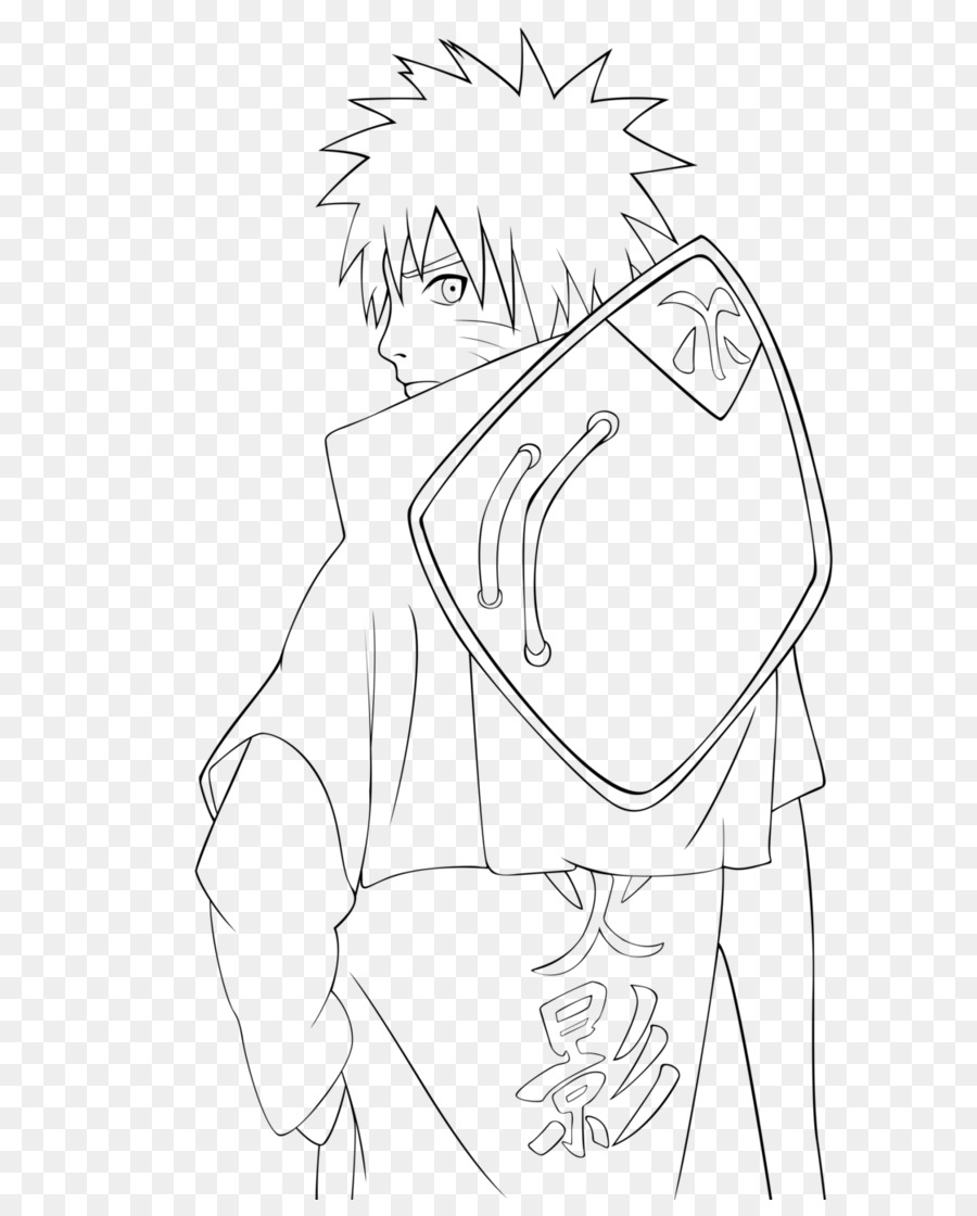 Line art drawing naruto white png