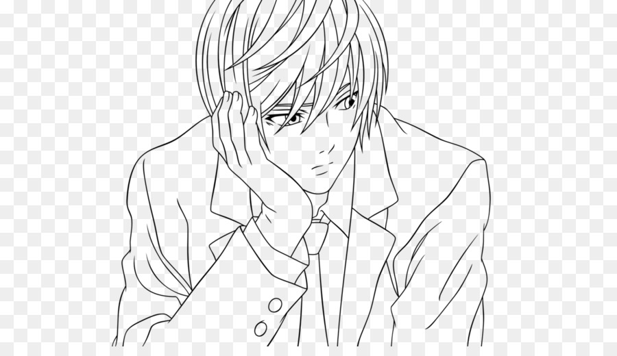 Light Yagami de arte de Línea de Dibujo de Croquis - la luz png ...