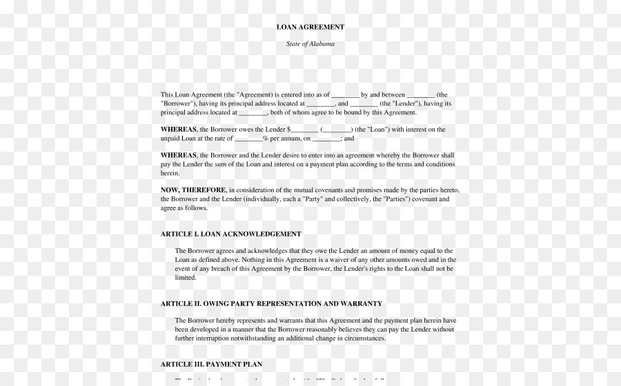 Loan Agreement Contract Template Mortgage Loan Agree Png Download