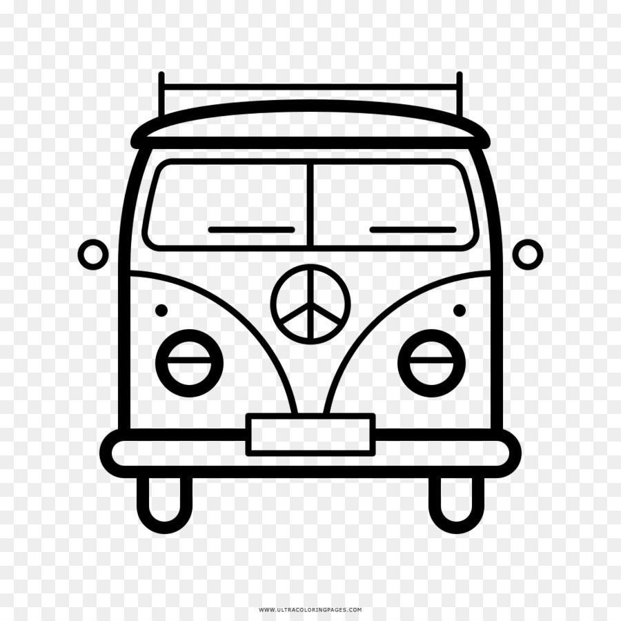 Hippie Coloring book Drawing - hippie bus png download - 1000*1000 ...