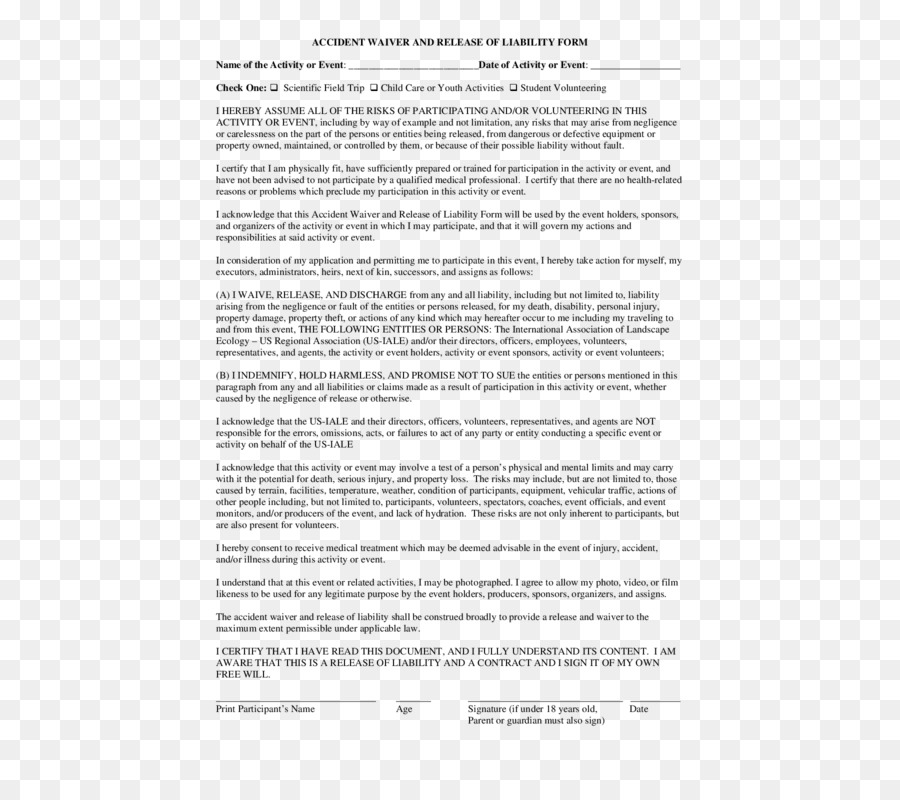 Liability Waiver Legal Release Form Document Others Png Download - Legal release form