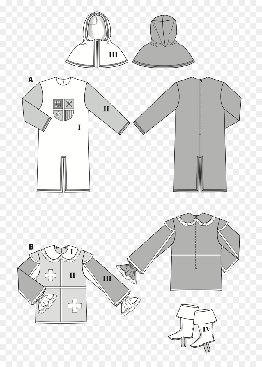 T-shirt Middle Ages Dress Medieval Clothing Pattern - T-shirt png ...