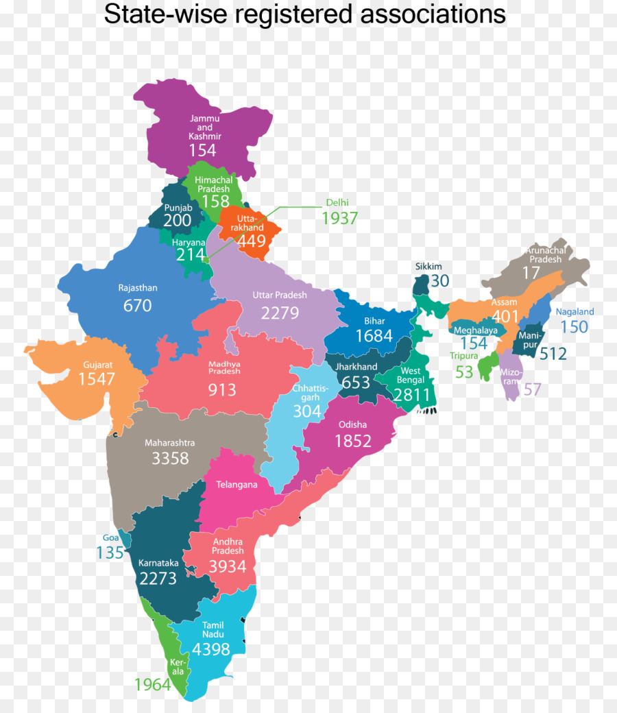 States And Territories Of India Vector Map