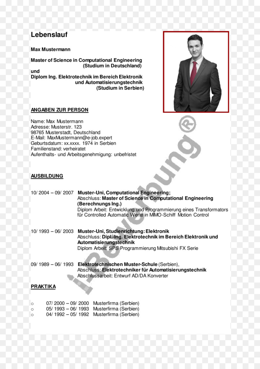 Muster Curriculum vitae Application for employment Diploma Résumé ...