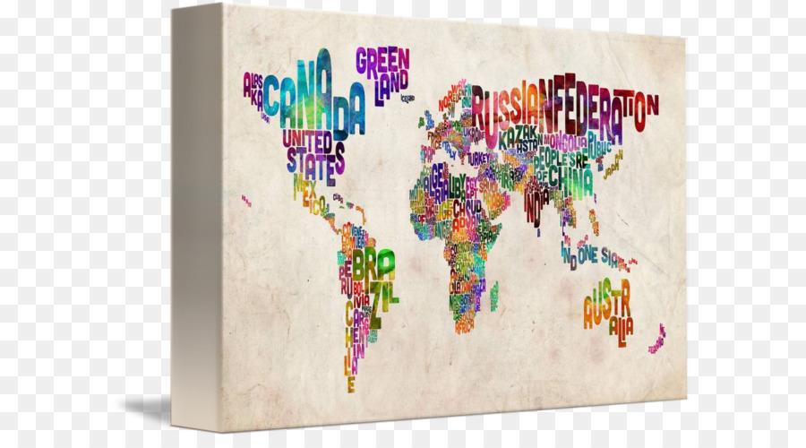 Weltkarte Leinwand Druck Kunst   Aquarell Weltkarte