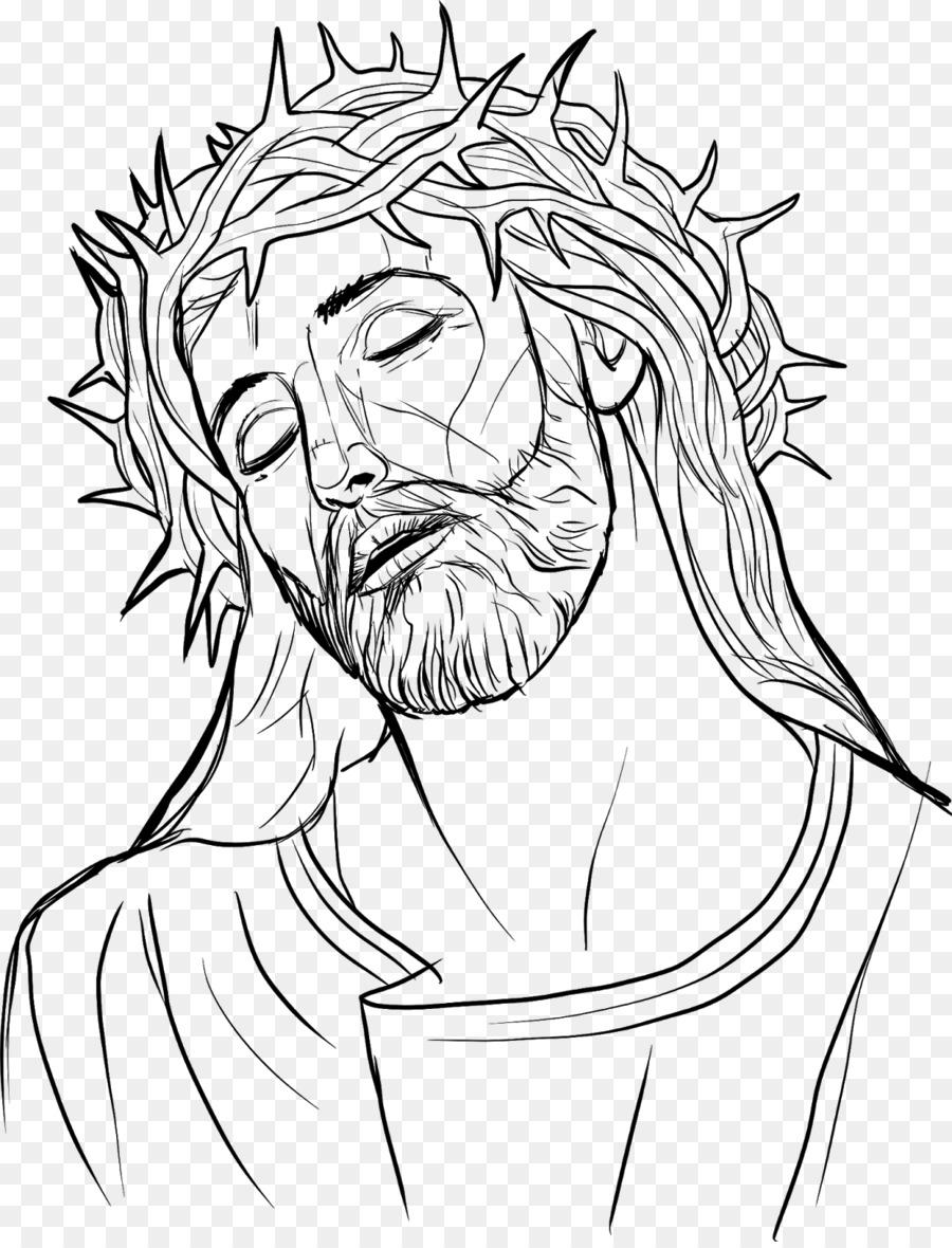 Crown of thorns drawing christianity line art face png